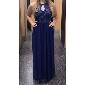 Royal Blue Prom Dress With Detailing On Top